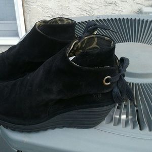 Fly London Suede Ruched Boots